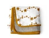 GOLDEN STARS - Minky Baby blanket + pillowcase - Stroller blanket-  Nursery blanket- baby crib bedding- modern baby bedding