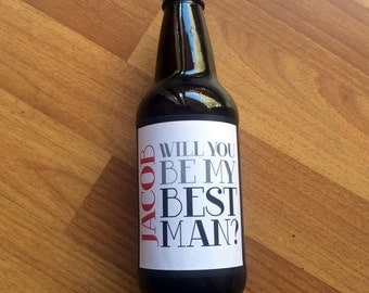 Will you be my Groomsman Beer Labels, Best Man, Groomsman, Bridal Party, Wedding Label, Custom, Personalized, Sticker, Favor, Groomsman Gift