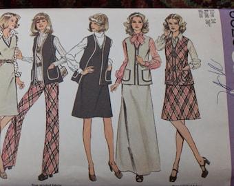 Vintage Simplicity Pattern 6525 Jumper, Vest and Pants Size 14 Uncut