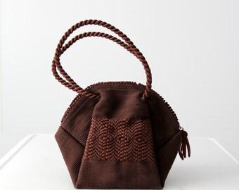 vintage 40s ribbon handbag, Corde style purse