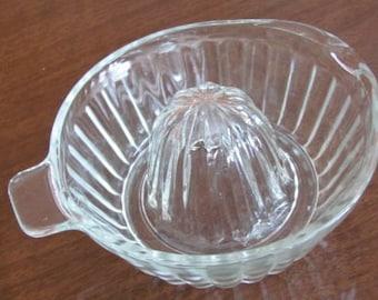 Vintage 50's Clear Cut Glass Citrus Reamer - Juicer - Kitchen - Serving - Breakfast - Orange Juice - Gadget