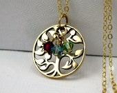 Mothers birthstone necklace, Custom Swarovski crystal jewelry, Gold Tree of Life necklace, Grandmothers birthstone necklace gift