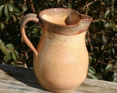 Pottery Creamer Pitcher Linen Brown Seagrove NC Pottery