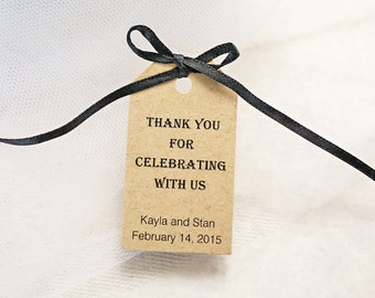 Wedding Favor Tag, Thank You For Celebrating With Us, Party Favor Tag, Gift Tag, Thank You - Set of 25 (SMGT-ALG)