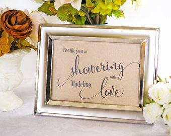 Thank You Sign For Wedding Gift Table : ... Gift Table, Thank You for Showering With LoveSize 5 7 (CANSIGN