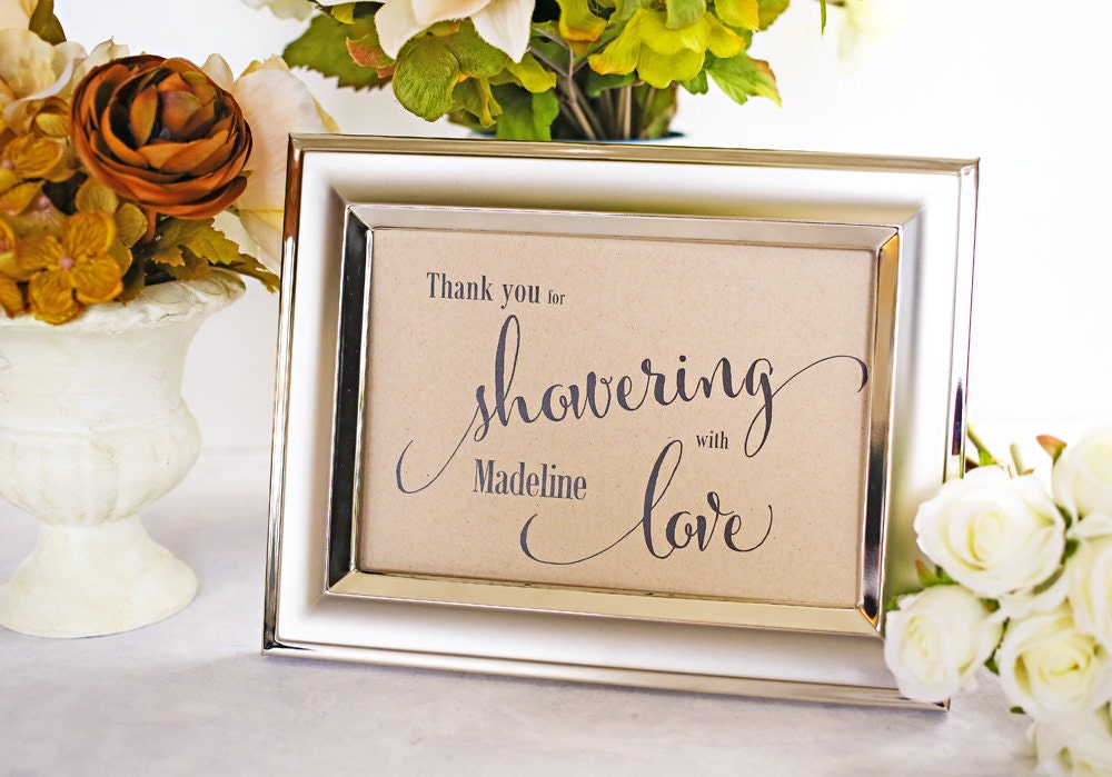 Wedding Gift Signs: Showering With Love Bridal Shower Decoration Baby By IDoTags