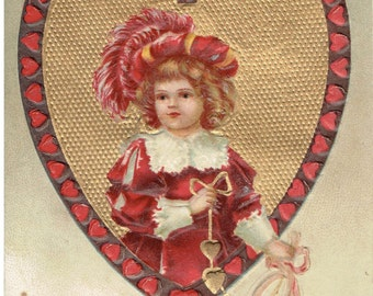 Antique Valentines Vintage Valentine's Day Hearts Young Girl