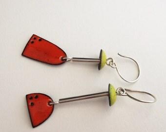 Picasso Enamel Earrings in Orange & Lime