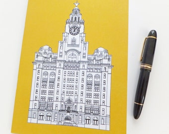 Liverpool Notebook, Golden Yellow Journal, Recycled Notebook, Recycled Journal, Blank Journal, Travel Journal, Liver Building Journal