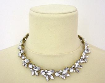 Rhinestone Necklace Wedding Bridal Chunky Statement Retro Choker Necklace Woman Jewelry Accessory