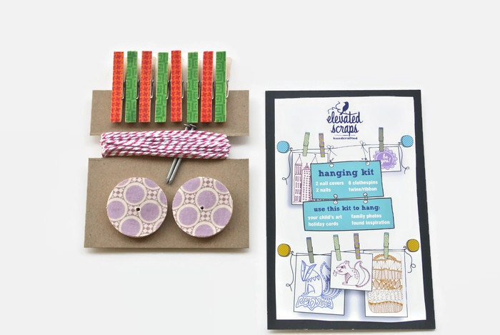 Art Display Kit ~ Mini Clothespins ~ Baker's twine ~ Nail Covers - Kid's Art Hanging Kit  ~ Fabric Scraps ~ Orange, Pink, Green and Lavender