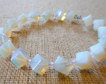 Milky White Glass And Pink Beaded Bangle Bracelet, Opalescent Beads, Square Glass Beads, Chunky Bracelet, Stackable Bangle, Handmade