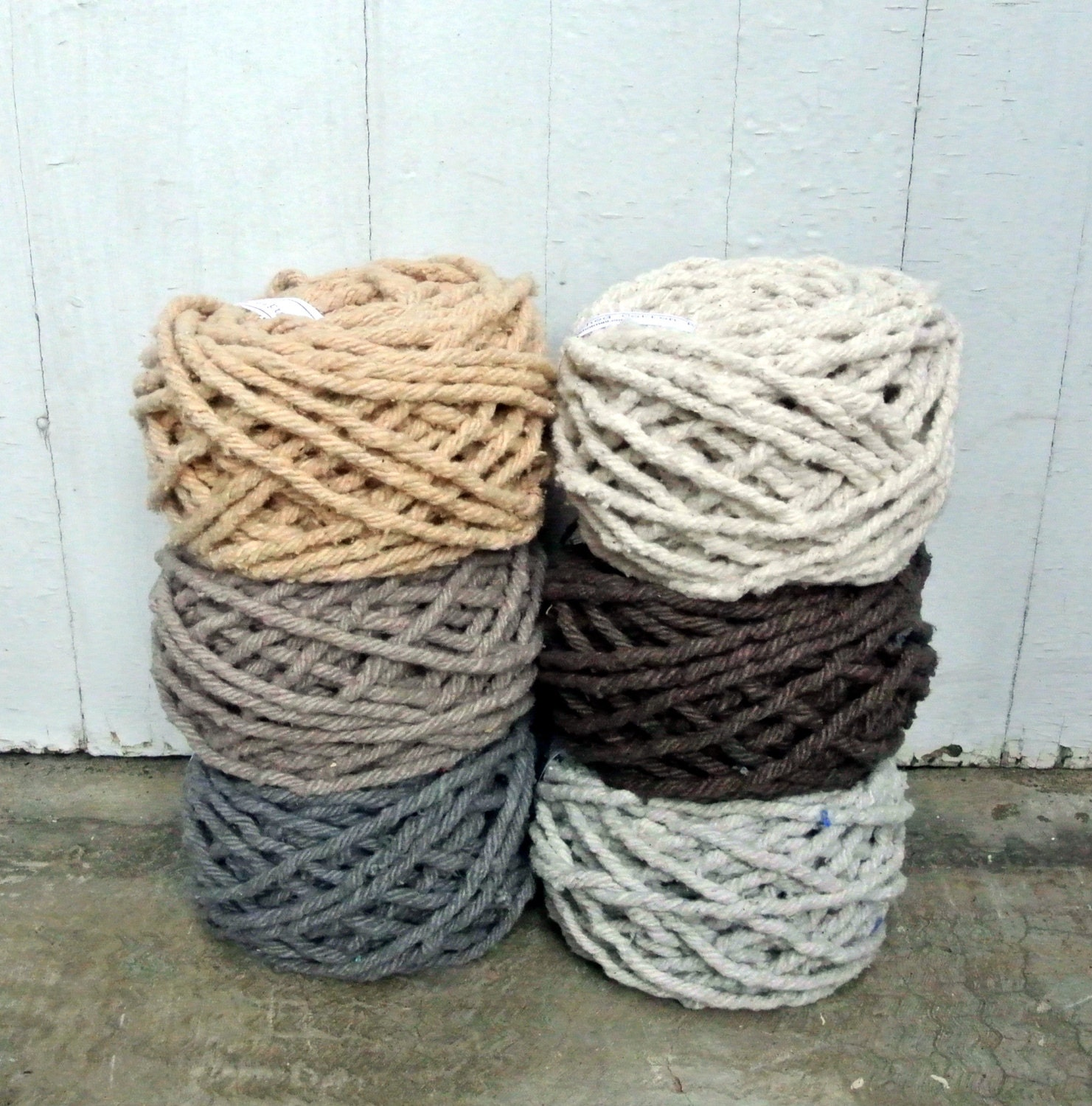 Hand Dyed Cotton Rug Yarn Colors Ecru Brown By