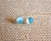 Tiny Turquoise Cats Eye Glass . Studs . Earrings . Catlin Collection