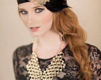 Gold Beaded Fascinator, Gold Flapper Dress Headband, Gold Black Dress Hair Accessories, Feather Headband, Gold Black 1920s Headpiece