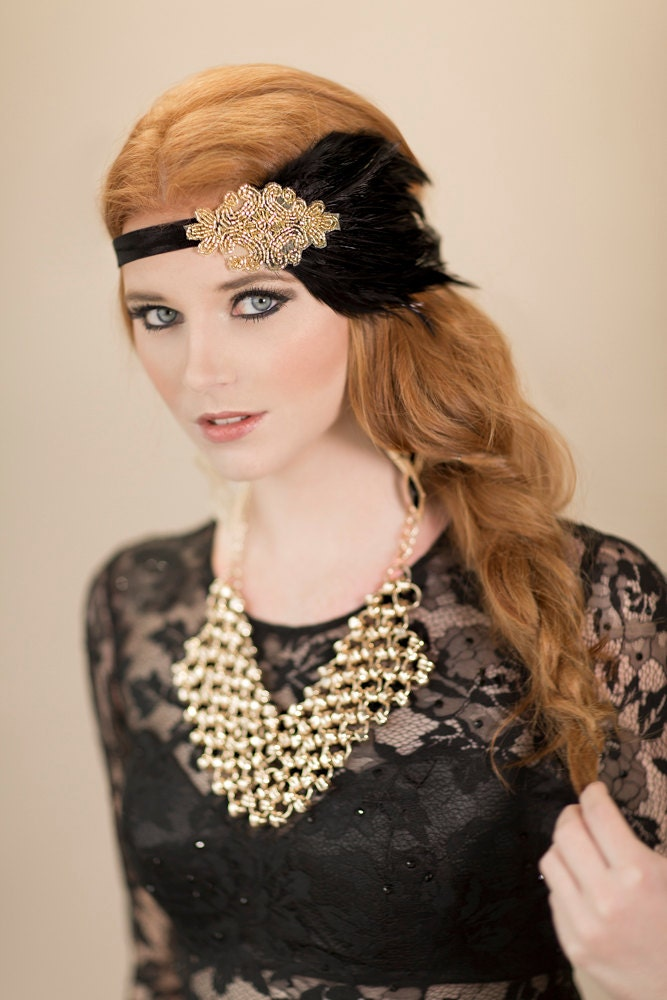 1920s Flapper Hair Accessories Black Feather Headband Gold