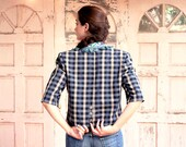 Cool & Fashionable Vintage short plaid Blazer beautifully decorated with embroidered Applications