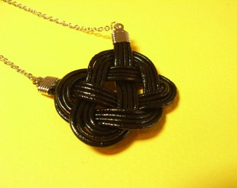 Chinese Knot Necklace with Earring Set, by Natural Leather Rope, Black