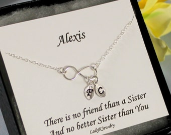Sisters Infinity Bracelet w/ Personalized Sister Gift Card, Sterling Silver Infinity Bracelet, Sister Jewelry Twin Sister Gift