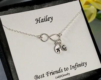 Best Friends Infinity Bracelet Personalized Gift Card - Best Friend Bracelet Sterling Silver Initial Bracelet Personalized Jewelry Christmas
