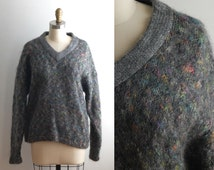 Vtg Fuzzy Mohair Color Flecked Gray Slouchy Oversized Sweater 80's 90's
