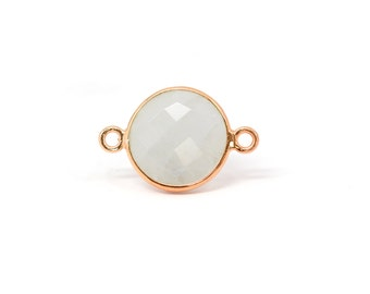 Rose Gold Plated Sterling Silver 12mm Faceted Moonstone Bezel Connectors - 1pc Good Quality Wholesale price (6939)/1