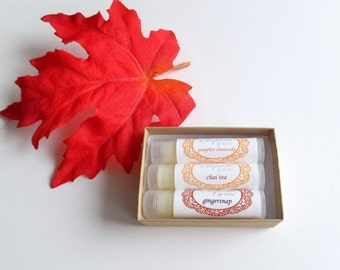 Lip Balm Gift Set of 3 Lip Balms - Your Choice of Flavors Stocking Stuffer