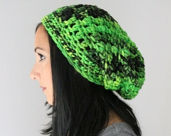 Emerald Green Shades Hand Dyed Pure Merino Slouchy Beanie Fashion Hat, Winter Accessories