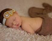 Gold Baby Headband, Beaded Rhinestone Headband, Vintage Style Rhinestone Baby Headbands, Newborn Photo Prop - Gold Paisley Swirl