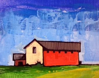 Red Barn 8 x 8 x .5 original acrylic painting, Simple painting of house, new england house, landscape painting