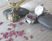 witchy jewelry acorn locket garnet wish necklace mystical prayer box secret compartment wiccan crystals pagan witchcraft occult