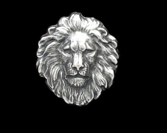 Silver Plated Brass Regal Lion Head Large Stamping 42mm x 48mm Perfect for Steampunk Art Made in the USA Brass