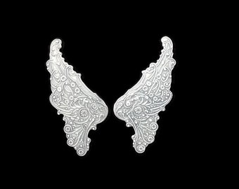 Filigree Wings in Silver Plated Brass Stampings 55 mm x 23 mm Qty 1 Pair One Made in the USA by Dr Brassy Steampunk Supplies
