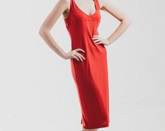 Vintage 90s Red rhinestones long maxi  Dress deep plunging neck  womens size   medium -m