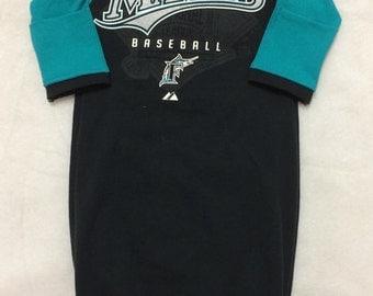 Newborn Baby Gown Made from Florida Marlins Baseball MLB T-shirt