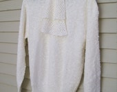 New Old Stock Le Roy Knits Nubby Loose Knit Ascot Sweater Office Fashion