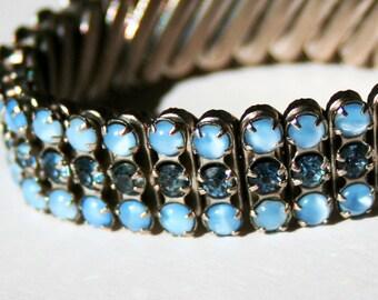 Vintage Blue Rhinestone Expandable Bracelet
