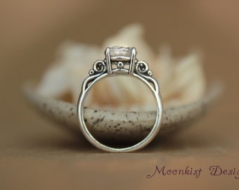 Victorian Scroll Filigree Engagement Ring with White Sapphire in Sterling - Vintage-style Wedding or Promise Ring -Diamond Alternative