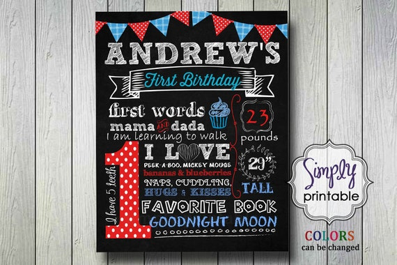 1st Birthday Chalkboard Poster, Birthday Sign Boy Red Blue (Printable)