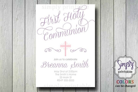 Purple 1st Communion Invitation