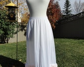 White With White And Peach Lace Explosion Underskirt Slip Upcycled Altered Couture Mori