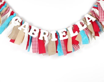 Red and Aqua Birthday Banner - Maternity Photo Prop - Name Banner - Birthday Banner - Garland - Photoshoot Prop