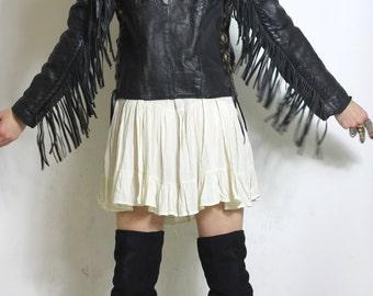The One Black Rose Leather Biker Jacket Fringe Braiding Conchos