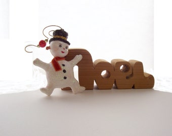 Holiday Ornament Snowman Vintage Flocked Ornament Hand Painted With Glitter Upcycled Collectible