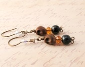 Earrings Gothic Skulls Nut Brown & Topaz Halloween