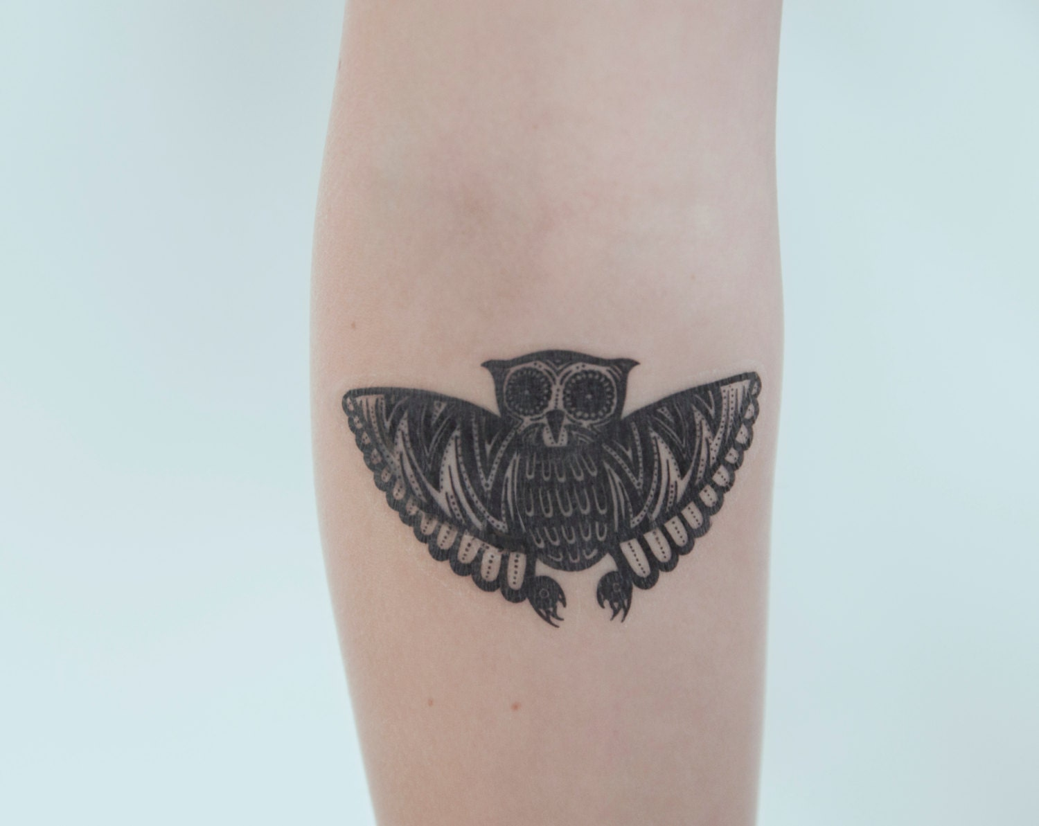 owl temporary tattoo nature temporary tattoo animal art