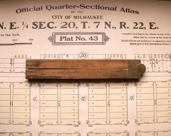 Vintage Boxwood and Brass Folding Ruler - Great Guy Gift!