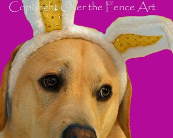 Easter Card, Yellow Labrador wears festive Easter Bunny Ears, Dog Art, Animal Art ,Easter Greeting Card