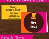 Willy Wonka Food Label DIY Printable Kit - INSTANT DOWNLOAD