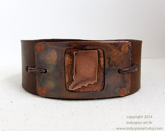 Indiana: Leather Bracelet with State Outline.